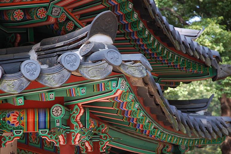 Toits du palais royal Corée du Sud