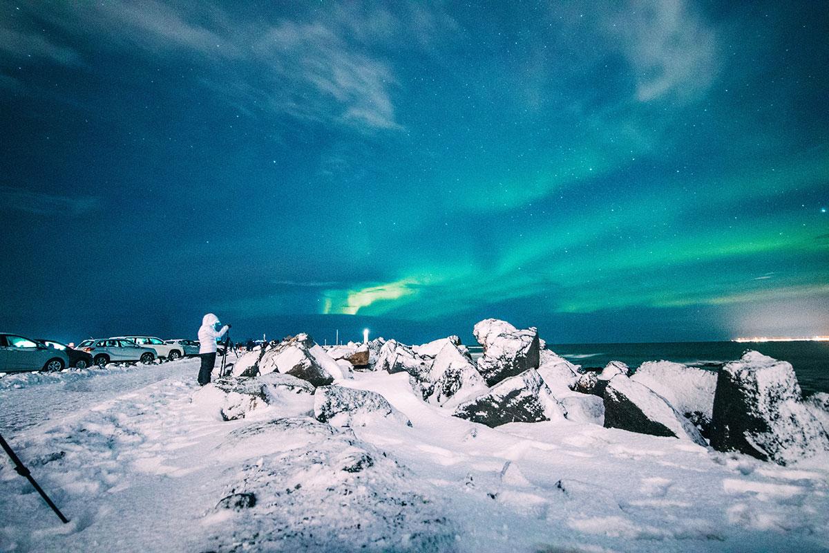 paysage Islande en hiver aurore boreale