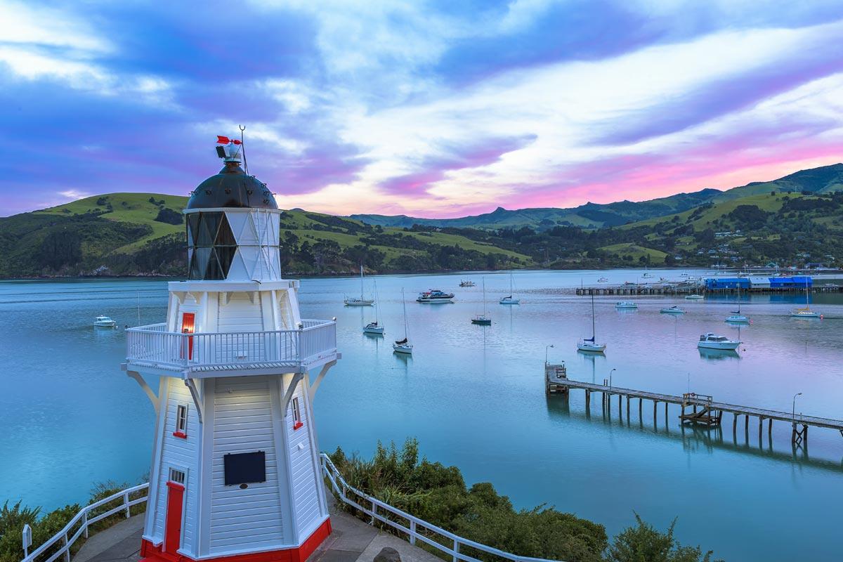 Vue du Phare de Akaroa en Nouvelle Zélande