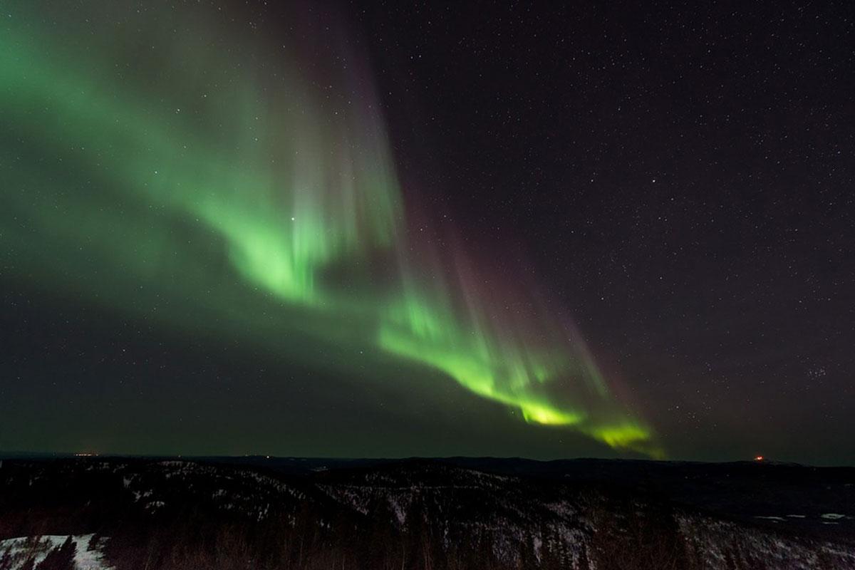 Aurore boréale la nuit en Islande