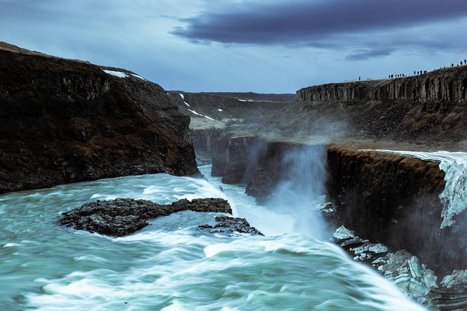 Les chutes d'eau de Gullfoss en Islande